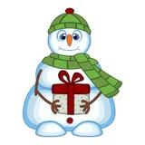 Snögubbe som bär en gåva och bär en grön head räkning och en halsduk för din designvektorillustration Arkivbilder