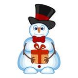 Snögubbe som bär en gåva och bär en hatt och flugor för din designvektorillustration Royaltyfria Bilder