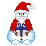 Snögubbe som bär en gåva och bär en Santa Claus dräkt för din designvektorillustration Royaltyfri Fotografi