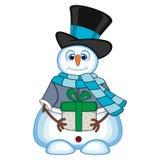 Snögubbe som bär en gåva som bär en hatt, en blå tröja och en blå halsduk för din designvektorillustration Royaltyfri Foto