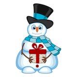 Snögubbe som bär en gåva som bär en hatt och en blå halsduk för din designvektorillustration Arkivbild
