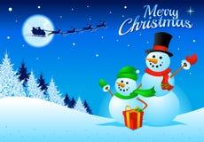 Snögubbe som firar jul! Royaltyfria Foton