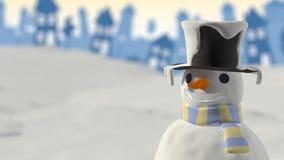 Snögubbe som ler julkortet Arkivfoton