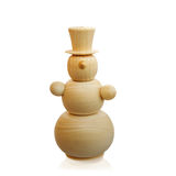 Snögubbe trähandgjort som isoleras på vit bakgrund nytt år Jul fotografering för bildbyråer