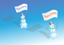 Snögubbear firar ferier Fotografering för Bildbyråer