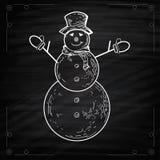 Snögubbear på svart tavlastil Arkivbild