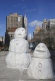 Snögubbediagram på Madison Square i Manhattan Royaltyfri Bild