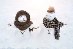 Snögubbeförälskelse Royaltyfri Fotografi