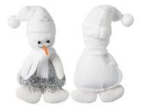 Snögubbegarneringleksak, handgjord isolerad snöman Royaltyfri Foto