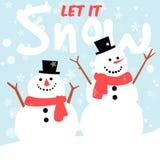 Snögubbehälsningkort, glad jul och lyckligt nytt år stock illustrationer
