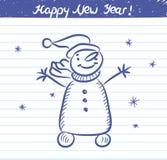 Snögubbeillustrationen för det nya året - skissa på skolaanteckningsboken Royaltyfria Foton