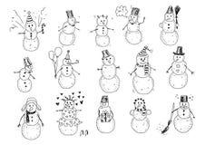 Snögubbeklotter royaltyfri illustrationer