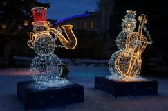 Snögubbemusiker för nytt år Royaltyfri Foto