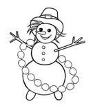 Snögubben med girlanden av kastar snöboll Arkivbilder