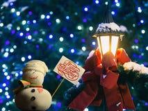 "Snögubben paperboardtecken på en pinne, smsar ""Merry jul! "" Arkivbilder"