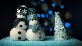 Snögubbepar för nytt år Fotografering för Bildbyråer