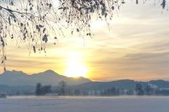 Snöig alpin fältsolnedgång Fotografering för Bildbyråer