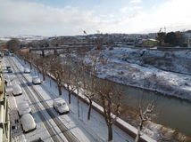 Snöig Benevento - Lungocalore Fotografering för Bildbyråer