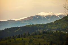 Snöig bergöverkant Arkivfoton