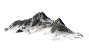 Snöig berg - bergmaximum - som isoleras på vit bakgrund Royaltyfri Bild