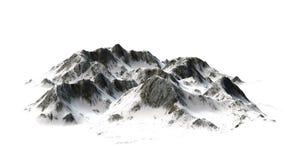 Snöig berg - bergmaximum - som isoleras på vit bakgrund Arkivbild