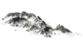 Snöig berg - bergmaximum - som isoleras på vit bakgrund Arkivfoton