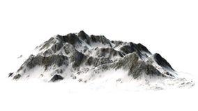 Snöig berg - bergmaximum - som isoleras på vit bakgrund Arkivfoto