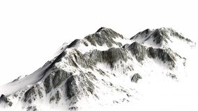 Snöig berg - bergmaximum - som isoleras på vit bakgrund Royaltyfri Foto