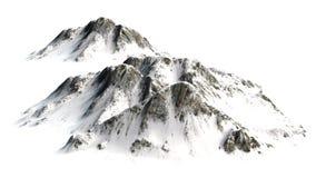 Snöig berg - bergmaximum som isoleras på vit bakgrund Royaltyfri Fotografi