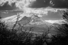 Snöig berg för svartvitt landskap i sjöområdet Arkivbilder