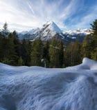 Snöig berg i de österrikiska fjällängarna arkivbilder