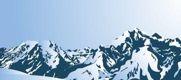 Snöig berg i morgonen Royaltyfria Foton