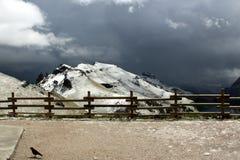Snöig bergDolomites - de italienska fjällängarna Arkivfoto
