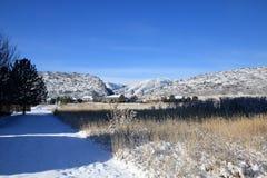Snöig berglandskap Arkivbild