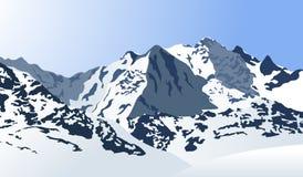 Snöig berglandskap också vektor för coreldrawillustration royaltyfri illustrationer