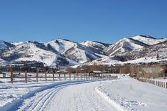 Snöig bergsikter framåt arkivfoton