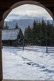 Snöig bergträdgård Arkivbilder