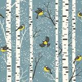 Snöig björkträd och fåglar på ljus - blå bakgrund vektor illustrationer