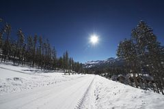 Snöig Breckenridge väg royaltyfria bilder