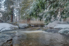 Snöig bro Royaltyfria Bilder