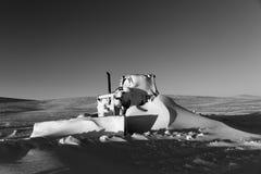 Snöig bulldoser Arkivbilder