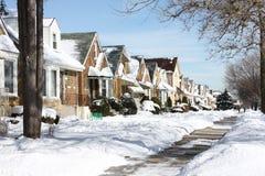 snöig chicago grannskap Arkivfoto