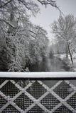 Snöig dag i Leamington Spa UK, sikt över Leam River, trädgårdar för pumprum - 10 december 2017 Fotografering för Bildbyråer