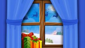 Snöig dag på jul och det nya året
