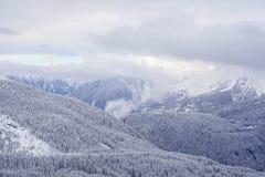 Snöig dalsikt på fjällängarna Royaltyfri Bild