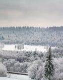 Snöig-destinerad Sigulda sikt royaltyfri bild