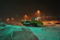 Snöig drevstation Royaltyfri Bild