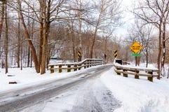 Snöig en-gränd bro Royaltyfri Foto