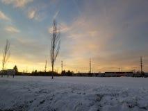 Snöig fält royaltyfri foto