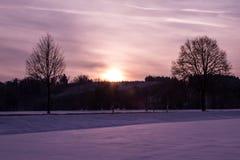 Snöig fält Arkivfoton